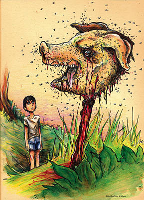 Drawing - Simon And The Beast by John Ashton Golden