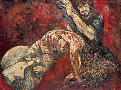 Painting - Simon Helps Jesus Carry His Cross by Patricia Trudeau