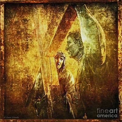 Simon Helps Jesus Via Dolorosa 5 Art Print by Lianne Schneider