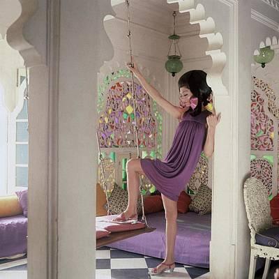 Simone D'aillencourt Wearing A Purple Shift Art Print