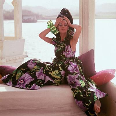 Seraglio Photograph - Simone D'aillencourt Wearing Seraglio Pajamas by Henry Clarke