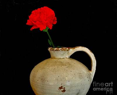 Simple Carnation In Pottery Art Print by Marsha Heiken