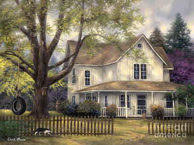 Picket Fence Painting - Simple Country by Chuck Pinson