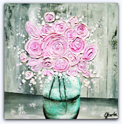Bouquets Of Pink Flowers Green Blue Painting - Simple Country Mason Jar by Jennifer Carter