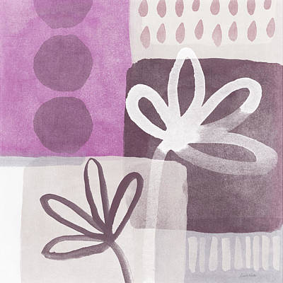 Simple Flowers- Contemporary Painting Art Print by Linda Woods