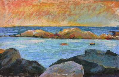 Painting - Simple Rock Landscape by Linda Novick