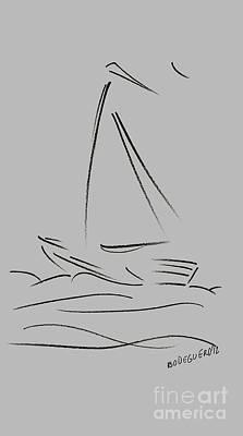Pencil Drawing - Simple Sailing Boat Drawings by Mario Perez