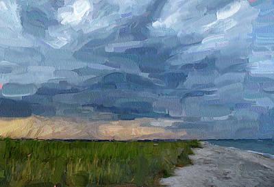 Abstract Beach Landscape Digital Art - Simple Seaside Landscape by Yury Malkov