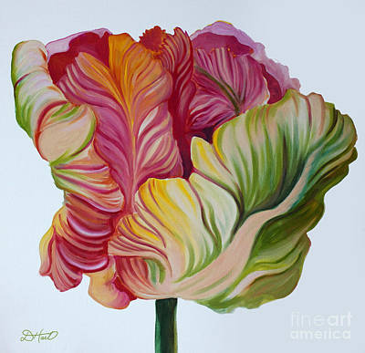 Simple Tulip Art Print by Debbie Hart