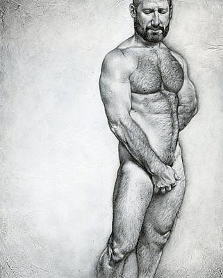 Male Nude Drawing Drawing - Simplicity 3 by Chris Lopez
