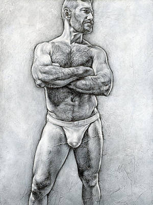 Male Nudes Drawing - Simplicity 6 by Chris Lopez
