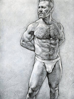 Male Nude Drawing Drawing - Simplicity 7 by Chris Lopez