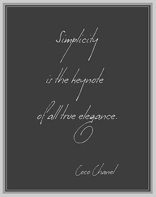 Chanel Wall Art - Digital Art - Simplicity And Elegance by Gina Dsgn
