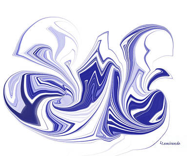 Contemporary Abstract Digital Art - Simplicity In Blue 2 by Louise Lamirande