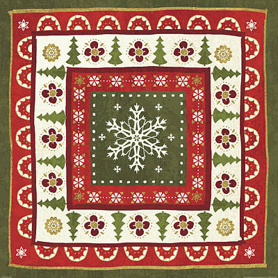 Christmas Painting - Simply Christmas Tiles II by Veronique Charron
