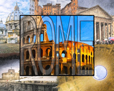 Photograph - Simply Rome - Roman Word Art by Mark E Tisdale
