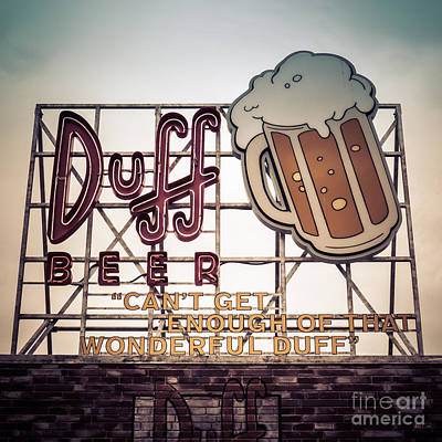 Homer Photograph - Simpsons Duff Beer Neon Sign by Edward Fielding