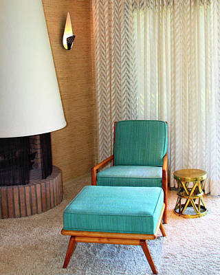 Photograph - Sinatra Blue Chair Sinatra House Palm Springs by William Dey