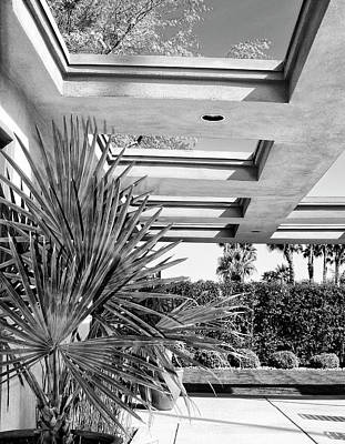 Sinatra House Photograph - Sinatra Patio Bw Palm Springs by William Dey