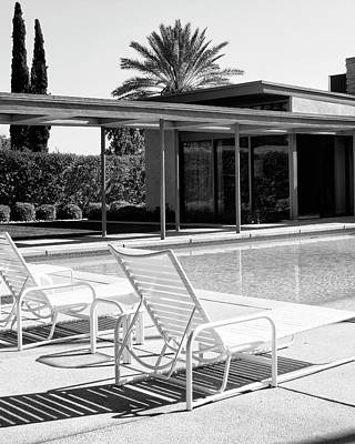 Old House Photograph - Sinatra Pool Bw Palm Springs by William Dey Dianovsky