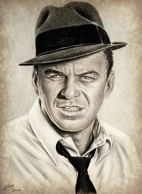 Icon Drawing - Sinatra Sepia Mix by Andrew Read