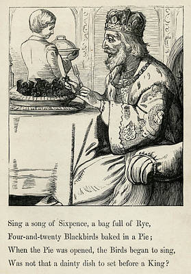 Blackbird Drawing - Sing A Song Of Sixpence, A Bag Full by Mary Evans Picture Library