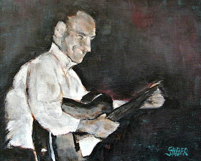Black Man Playing Guitar Painting - Sing Me Back Home by Kathy Stiber