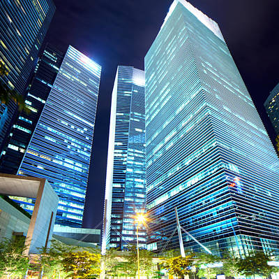Financial District Photograph - Singapore Business Building At Night by Ngkaki