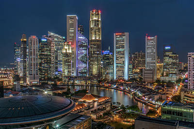 Financial District Photograph - Singapore Central Business District by Edward Tian