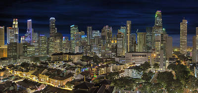 Central Photograph - Singapore Central Business District Skyline And Chinatown At Dus by David Gn