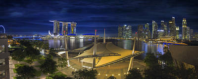 Thomas Kinkade Royalty Free Images - Singapore Central Business District Skyline at Dusk Royalty-Free Image by Jit Lim