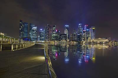 Singapore City Skyline Along Marina Bay Boardwalk At Night Art Print by David Gn