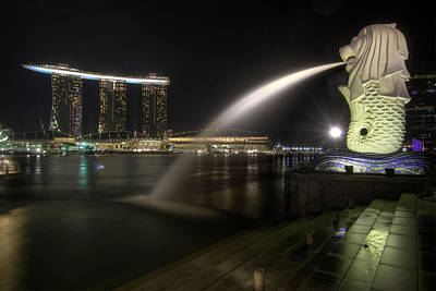 Outdoors Photograph - Singapore City Skyline At Merlion Park 2 by David Gn