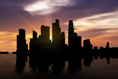 Singapore City Sunset Skyline  Art Print by Aged Pixel