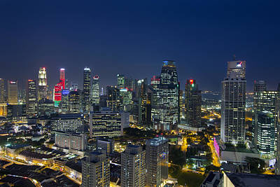 Central Photograph - Singapore Cityscape At Blue Hour by David Gn