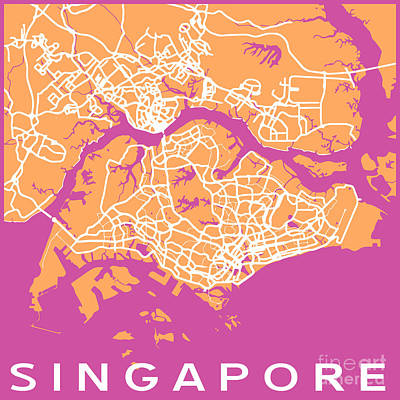 Pop Art Royalty-Free and Rights-Managed Images - Singapore by Delphimages Photo Creations