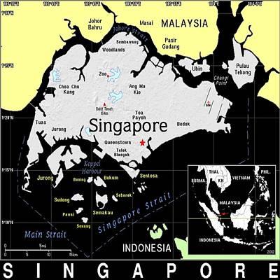 Mixed Media - Singapore Exotic Map by Florene Welebny