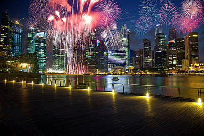 Singapore Fireworks In Downtown Area Art Print by Jaynes Gallery