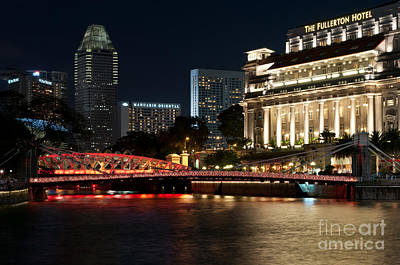 Photograph - Singapore Fullerton Hotel At Night 01 by Rick Piper Photography