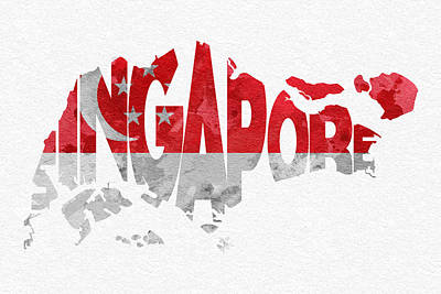Singapore Typographic Map Flag Print by Ayse Deniz