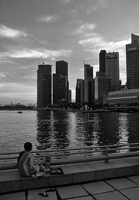 Urban Landscape Photograph - Singapore Woman And Skyline by Steven Richman