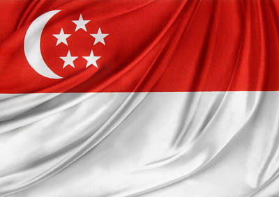 Singaporean Flag Art Print by Les Cunliffe