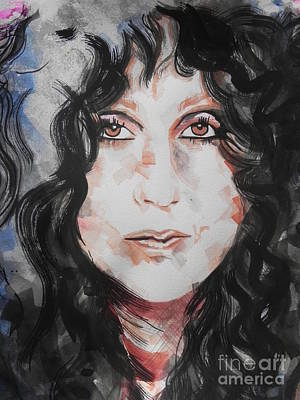Music Paintings - Singer Cher   by Chrisann Ellis