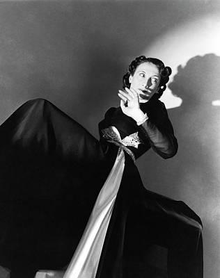 Music Studio Photograph - Singer Greta Keller Wearing A Black Dress by Horst P. Horst