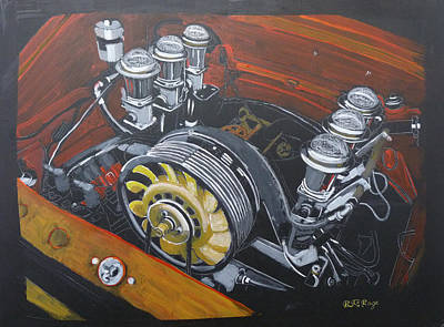 Painting - Singer Porsche Engine by Richard Le Page