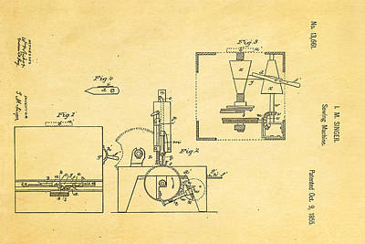 Tailor Photograph - Singer Sewing Machine Patent Art 1855 by Ian Monk