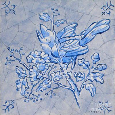 Singing Bird Delft Blue Art Print by Raymond Van den Berg