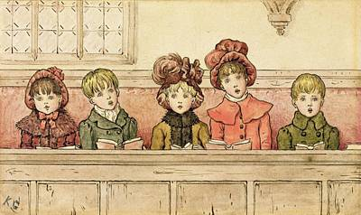 Children Book Illustration Drawing - Singing In Church by Kate Greenaway