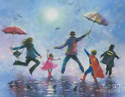 Supergirl Painting - Singing In The Rain Super Hero Kids by Vickie Wade