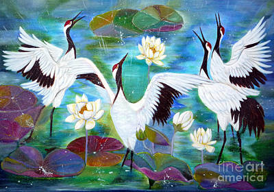 Lilly Pond Painting - Singing In The Rain by To-Tam Gerwe